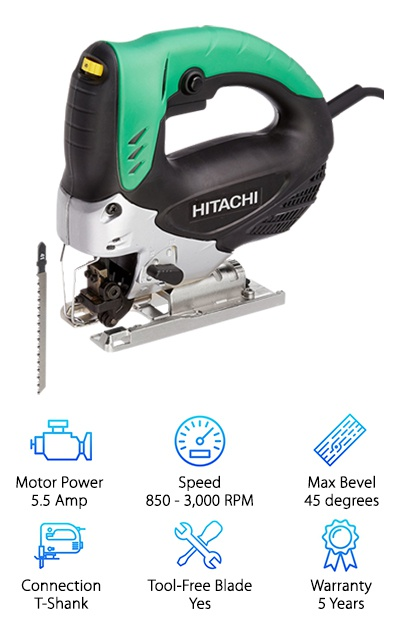 If you're doing a lot of sawing, you will quickly notice that sawdust can build up around the area you are cutting. This can be rather annoying because you will often need to stop to clear the sawdust, so you can make precise cuts. The Hitachi CJ90VST is the perfect solution to that problem. This jigsaw comes with a very powerful dust blower that will eliminate any debris build up. The feature is similar to another jigsaw we found, but this jigsaw is the more powerful option. Since it isn't cordless, it runs off of a 5.5 Amp motor. The motor can run the blade at variable speeds between 850 and 3,000 RPM. To get the most efficient cuts out of this jigsaw, you will also want to choose the appropriate orbital action mode for the material you are working with. This particular jigsaw uses a T-Shank blade, and it can easily be changed without using any tools. If you need to cut at an angle, you can adjust the bevel angle up to 45 degrees in either direction. Lastly, this jigsaw is covered by a five-year professional warranty, so it is great for carpenters.