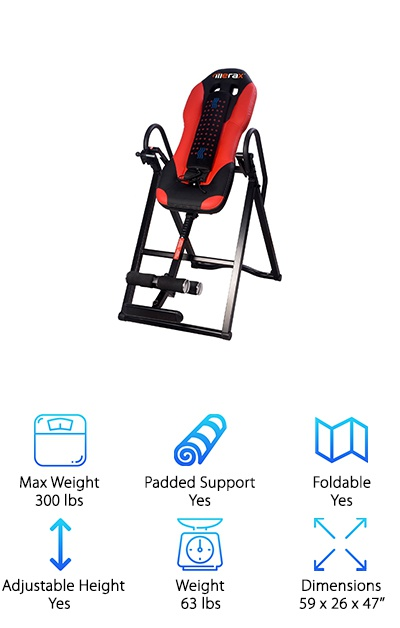 The Merax Inversion Table doesn't just invert: it provides vibrating massage and heat therapy, and it's padded with high-density foam for total comfort! The heated vibrating massager section can be removed depending on the user's preference. You can adjust this table to fit heights from 4'10'' to 6'3'', and it supports up to 300 pounds! When the session is finished, you can fold it up to store it away or take it with you. The steel frame provides a sturdy base of support, while adjustable oversized foam rollers provide a secure fit around the ankles. The pivot arm gives you total control over how the table moves. You can use it by yourself: once you're locked into the ankle supports, stretch your arms over your head to gradually tilt the table and invert yourself. If you're looking for an inversion table with additional beneficial therapies, the vibrating massage and heat can help you relax even further while you invert.