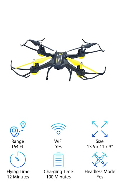 There is a lot to love with the HASAKEE H3 FPV RC Drone. Our reviewers were really impressed with the cost of this nimble quadcopter, given all of its included features. While others may be shelling out more for the drone experience, you can do all of the same things at a much lower price point. The HASAKEE Drone will fly for up to 12 minutes per battery, and 2 batteries are included with purchase. Each one charges completely in about an hour and a half. This drone has a WiFi feature, too. Send a live video feed from the drone to your smart device from up to 164 feet away. Headless mode helps beginners learn to control the drone, and gravity sensor mode is also a great training bonus. The transmitter and controller come with a phone holder to pop your iPhone or Android phone on and get moving. Spare blades and lamp covers are also included!