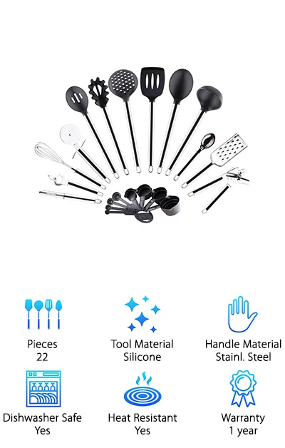 This 22-piece utensil set features a variety of stainless steel and silicone kitchen tools. The six spoons, ladles, and spatulas come with black silicone head coatings that are safe to use on nonstick cookware. You also get a full ring of measuring spoons and cups. Seven other kitchen gadgets are fully stainless steel. And, here's the bonus! A silicone glove for handling hot items is also included! This silicone glove is great for removing items from the oven, grill, stove, or microwave. The flexible textured silicone gives you a good grip on dishes and pans. This low-price set is made of high-quality materials to last you for years to come! Plus, the six silicone and steel utensils are safe to be used with nonstick cookware.