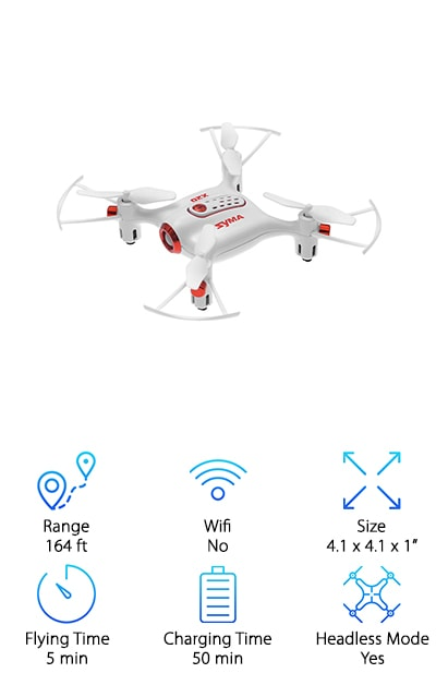 Last but certainly not least is the Syma X20 Mini Pocket Drone. This is another one that's great for beginners and even kids. One thing we really liked about this drone is that it's so stable. Why does that matter? It's easier to control which makes it better to learn on. Plus, it has an easy to use headless mode and one key take off and landing. As for stunts, there's also a one key 360-degree roll. And get this; it has an altitude hold mode. All you have to do is set it and this drone can hold its own height. If you want to fly it at night, the LED lights make it easy to see and create some really cool effects.