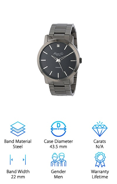 If you're in a New York state of mind, it's time to consider the Kenneth Cole New York Watch. This men's watch is so fresh and so clean. It is just as well suited for a meeting in a high-rise conference room, or a night out at the bar with the boys. It also makes a fabulous gift for the man in your life. When the design is this timeless, it works for any age or setting. Let's start with the round gunmetal case, measuring 43.5 millimeters in diameter. There is a single diamond at the top, in the 12 o'clock position. The dial is black and it has silver tone accents in the remainder of the hour positions. The New York Watch is analog and is powered by a Japanese quartz movement. The black ion-plated stainless steel band measures 22 millimeters wide, with brushed inserts. The links are adjustable, and they close with a push-button clasp. Enjoy the lifetime warranty!