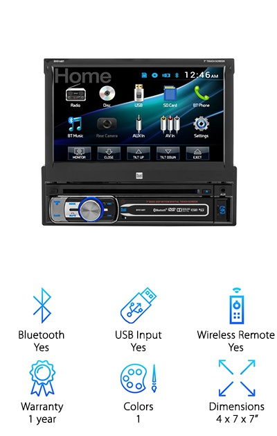 This is a good choice for anyone looking for the best single DIN touchscreen head unit. This is a great addition to any car. If you're looking for something that can do it all, this is the best single DIN touchscreen for you. It will easily pair with most Bluetooth devices. It comes equipped with a CD player so you can play all of your music, not just the music stored on your phone. Even if your media is stored on a micro USB chip, this player can play that media too. There are multiple USB, AUX, micro SD readers, and RCA A/V outputs so you'll be sure to get the most out of your in-car entertainment system. You can even enjoy your favorite movies through the included DVD player. It even includes a wireless remote so you can control your music and DVDs from anywhere. It has a power output of 200 Watts.