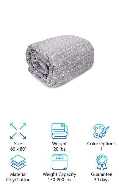 Think of a weighted blanket as a warm hug. Once it arrives, you will wonder how you ever lived without it! The Rocabi Weighted Blanket is composed of two separate pieces. The first hides inside. It is made of cotton, with non-toxic food-grade poly pellets inside. The blanket is specially constructed to keep the pellets spaced out evenly so that they don't all run into one corner as you try to snuggle. There is also an outer layer, which functions as a duvet cover. It is also queen-sized, measuring 60 by 80 inches. It is made of the softest minky polyester fabric. The whole thing weighs 20 pounds, and it is recommended for people who weigh between 150 and 200 pounds. If that isn't big enough, there is also a 25-pound version for larger adults. Both the inner and the outer layers can be placed separately in the washer and washed in the cold, gentle setting. You will love it!