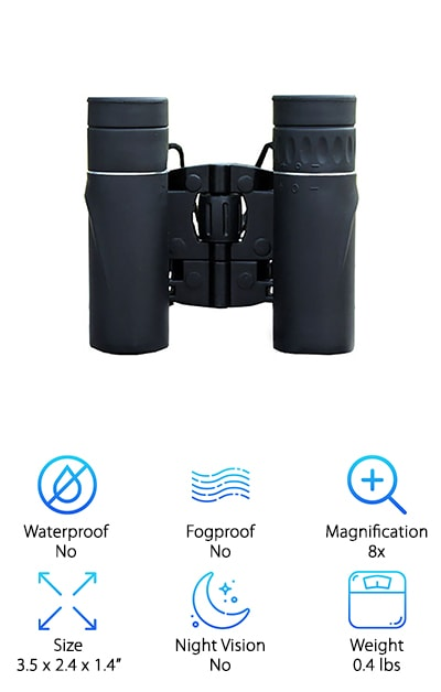 We truly saved the best for last with this one. These are some of the best lightweight binoculars out there. They can magnify up to 8 times closer, and have a 21mm object lens that allows them to do it all. These features allow you to see what you want to crisply and clearly, easily navigating through any circumstance. Take them to the opera, on your next hiking trip, or to your kid's soccer games. Heck, you could even give bird watching a try. These binoculars offer a wide frame of view, which allows you to see 369 ft at 1,000 yards. They're compact and lightweight and can easily fit in any pocket or day bag. They have multi-coated optical lenses which give you incredibly clear images and allows you to see everything just as if you were standing right next to it. These binoculars are incredibly convenient and easy to carry, so you can take them with you everywhere.