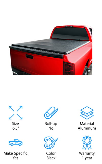 This is another one of our favorite Ford truck bed covers. It fits low to the bed to give it a discreet appearance. It installs easily and has rubber seals to keep all of the moisture out. Unlike metal truck bed covers, this one is silent while you're driving – you won't hear it rattling around with the road or the wind. That's definitely a good thing! This TAC cover can be removed in seconds or folded up under the window to give you access to the rest of your bed. It's so easy to use that it can be installed and uninstalled with just one person. The use of a cover like this one boosts your fuel mileage by 10% at least, because your truck becomes more aerodynamic. This cover will definitely be worth the investment. We loved that this product was a soft cover with a discreet design instead of standing on top of the bed like most of the others.