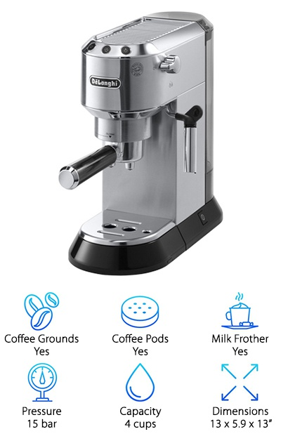 The stainless steel Delonghi EC680M DEDICA offers more manual control than some espresso makers and is ready to brew in just 40 seconds. The stationary wand attachment can froth and steam milk, as well as produce hot milk for tea or Americano. Your average coffee mug will fit on the drip tray, and you can make single or double shots with the push of a button. The top of the machine doubles as a cup warmer, great for pre-heating your containers before filling them with espresso. This Delonghi espresso machine also automatically enters standby mode if you forget to turn it off to help save power, which we appreciated. It is relatively compact but well-built. You can program temperature, how much to pour, and even to adjust to the hardness of your water. These technological advances help it stand out from the rest.