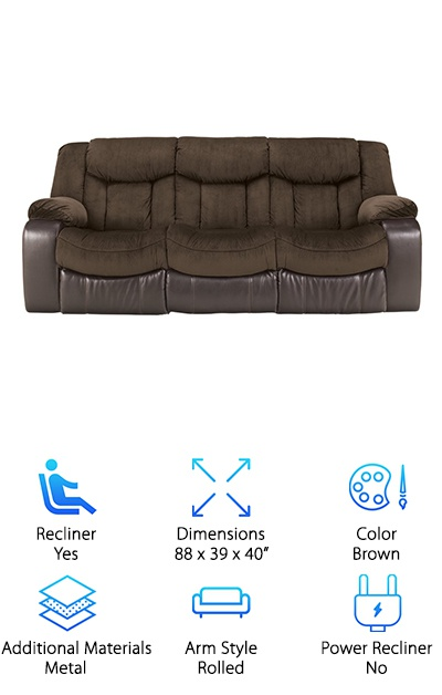 The Ashley Reclining Sofa is on our top ten list because it is the ultimate in enjoyment. What do we mean? You will sink into this couch and never want to leave. You can even sleep on it if you'd like because both the left and right-hand seat recline backward. The middle seat remains stationary. The recliners are controlled with easy-to-use pull tabs. This sofa was created with a dual-fabric design which helps increase your comfort level, too. The upholstery and seating area are covered in plush, nubby polyester. The exterior is covered with a vinyl fabric for a sophisticated look. Both the seats and the footrests are supported by an inner metal framework so that they last through plenty of use. With very minimal assembly required, this sofa will be in place and ready for lounging in no time, ideal for virtually any room of your house. It's time to try a new look and relax with the Ashley Reclining Sofa!
