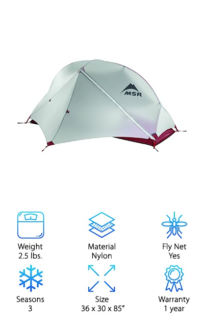 "If you are looking for something even lighter to save weight in your already heavy pack, check out the MSR Hubba NX Tent. It's an ultralight solo tent made from durable nylon. It has ""ripstop"" technology that helps prevent tears. This super light tent is only about 2.5 pounds, making it the lightest on this list. If you like hiking solo for days or even weeks, that loss of a pound on your back can make a big difference. And the inside is pretty roomy too, with measurements of 85 by 36 by 30 inches. It has a rain-gutter to prevent rainwater from coming into your tent with you. The rain fly is even coated to keep you as dry as possible. It folds up tiny to keep from taking up too much room in your pack."