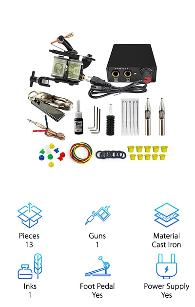 When it comes to tattoo kits for beginners, this one from ITATOO is a great choice. It comes with basic tools and supplies that you need to begin. First, you get a professional tattoo machine that works as a liner and shader. Not only are a clip cord and foot pedal included, they along with the tattoo machine are all covered by a 6-month warranty. Plus, the included power supply has a 1-year warranty. This kit also includes grips, needles, ink cups, o-rings, grommets, and rubber bands so you have most of the general supplies that you need to get started. There's one bottle of black ink in this kit, too, so you can have just what you need to begin learning with this kit. Oh, a teaching manual to learn how to put the whole thing together.