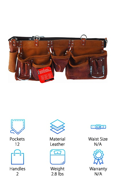 This is a great pick for anyone looking for a great tool belt, leather makes a great material for durable belts. This carpenter's apron comes with reversed rounded corner pockets, which are great for anyone looking for incredibly durable pockets. This belt features twelve various sized pockets and two hammer holders, so you'll never be missing a tool. The belt itself is made of heavy duty saddle leather and comes with a two-inch wide belt. This belt is fairly lightweight for a carpenter's belt- at 2.8 pounds. It comes complete with a comfortable roller buckle. This buckle also makes it more comfortable for the wearer. This buckle also comes with two rust resistant nickel plated hammer holders, to ensure you're never without a necessary tool for any job. It is made of durable oil-tanned split leather, which makes it a great choice for anyone looking to invest in a long-term tool belt.