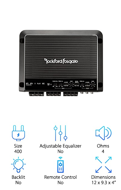For a lot of power in a small space, Rockford Fosgate's R400-4D plays your music loud and clear while remaining reliable and compact. For an amp of its small size, you get a lot of output. There's a bit of versatility with this one, too. Use it for your front speakers and rear subwoofers or bridge to 2 channel mode to use with your subs. Rockford Fosgate has a special POWER system - that's Power Output Without Excessive Regulation - that means it lets you tune your system fast because the equipment responds quickly. It's well laid out with ideal placement of hookups, dials, and switches. There's also a special bass boost so you can get your jams sounding just right. Temperature regulation is effective so you don't have to worry about the system overheating.