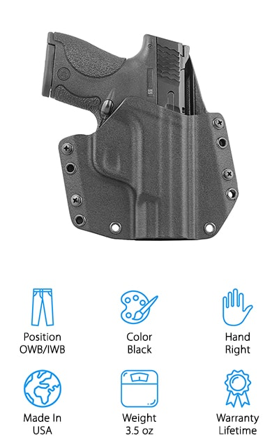 The Mission First Tactical holster fits the SWMP 9/40 and includes the 1.75-inch standard belt loop that can be adapted to other options for mounting. It can be used both outside and inside of the waistband with the non-included clip. This Kydex holster has an audible click that lets you know when the gun is safely locked inside of the holster. It also features an adjustable cant from 0-15 degrees. The inside of the holster has a sweat guard to ensure there is no moisture getting to your gun. The material that the holster is made from is .08 boltaron Kydex material for higher temperature resistance. The Mission First holster has a precision gun specific fit-later CAD design that gives you less finish wear and a smoother draw. The whole item weighs roughly 3.5 ounces and there is a lifetime warranty on this Veteran made product.