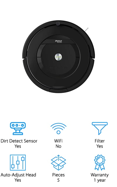 Last but certainly not least is the Roomba 805. It has a full range of sensors that adapt to the changes that are constantly happening in your busy home. This is a good one for pet hair because it has tangle-free extractos that help prevent clogs. One thing that's unique about this vacuum is the high-efficiency filter that traps up to 99% of allergen, pollen, and particles keeping them from recirculating in the air inside your home. This makes the 805 a really good pick for anyone suffering from allergies because it really can improve the air quality. You can set a cleaning schedule or just press a button and have it clean on demand. It automatically adjusts to various floor types and you can create virtual wall barriers to keep it contained to a specific area.