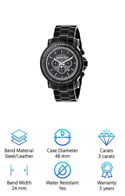 LUXURMAN Black Diamond Watch