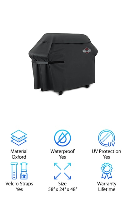 The Grillman BBQ Grill Cover looks pretty sharp and it definitely looks like it's going to hold firmly. It's entirely rip proof as well as being UV and waterproof, so you can trust it to protect your grill. It has an extra wide design that's made to offer even more options and it fits the majority of popular grill brands as well. Made with heavy duty Oxford material, lined with PVC, it's even wind resistant because of the durable Velcro straps that hold it tightly to your grill. As if that wasn't enough, it's even backed by a lifetime guarantee. There's no reason to worry about anything from ripping to fading because of the guarantee and when it comes to moving it or your grill there are even handles on the sides that make the process even easier. Wrap the Velcro straps as tight as you need in order to get a secure fit and it protects your grill from top to bottom.