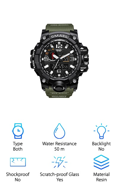 If you want a little bit of everything in your watch, the Siniya Multi-Function Watch is a sweet watch with a ton of features. This watch has a stopwatch, precise analog and digital time, date and calendar, and alarm. The band is made with reinforced resin that just doesn't quit. It's designed to be more comfortable and ergonomic. It's a military green color too, matching the military watch theme. The case is made of a durable resin which is covered with a scratch-resistant glass. It's water resistant up to about 50 meters, making it great for everyday interactions with water. And with precision Japanese quartz time keeping tech, you'll have some of the most accurate time keep around! We really love the design of this watch, and we're pretty sure you'll love it too!