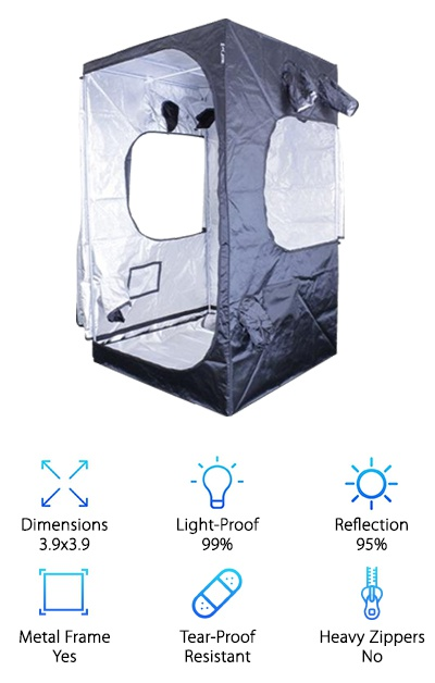 This Sun Hut grow tent has almost seven feet of height clearance to keep you relatively comfortable as you tend to your beloved plants. It's also available in 2x2, 2.6x2.6, 3x3, 3.3x3.3, 3.9x2, 5x5, 8x4, 8x8, and 10x10 - phew! So it has a range of sizes for different levels of indoor plant systems. It's made of 210D canvas material with Mylar interior and removable Mylar floor liner for cleaning up spills. The metal frame is made of galvanized steel poles that fit into polypropylene connectors. Polypropylene is a strong plastic, but if you want an all-metal frame, you may prefer a different tent. This growing tent also has four drawstring dual-sock ports, situated from across from each other on opposite walls to make installing ducts easy. You also get clear viewing windows and two large doorways, too. If you want a tent that covers all of the bases but isn't covered with ports, you may like this option from Sun Hut. It has an intuitive but simple design and a strong frame. This is a great choice for a higher-end grow tent with a relatively small size if you want to upgrade your growing conditions.