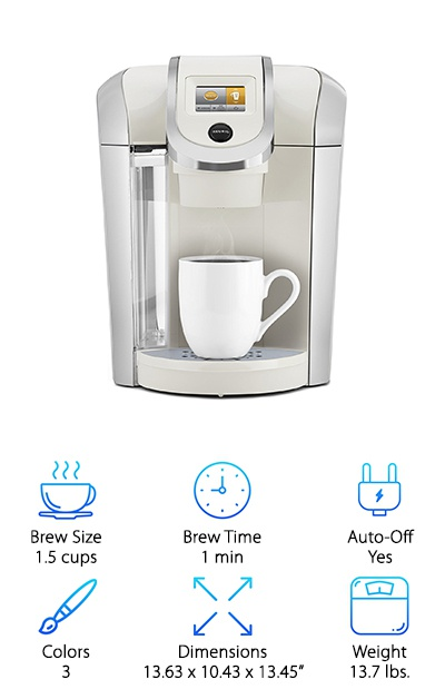 The Keurig K475 Pearl is another great choice for someone looking for a programmable model. When you purchase this option, you will get a large water reservoir that can hold nearly 9 cups of water. You can also choose between 5 different brew sizes ranging from .5 cup to 1.5 cups. If you need to brew more than that, you can purchase K-Carafe pods and a Carafe to brew 2.75, 3.25, or 3.75 cups at one time. We love that this model gives you the ability to customize the strength and temperature of each brew. You can conveniently make all of your adjustments on the large color touch screen. If you enjoy having a cup of coffee waiting when you wake up, then you will want to take advantage of the ability to program your Keurig to brew automatically. If this sounds like the model you would like to own, you can get it in Black, Sandy Pearl, and Vintage Red.