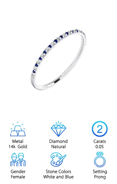 "This slim beauty is the perfect wallet-friendly ring. It is incredibly dainty and a beautiful accent for those looking for their ""something blue"". It comes with alternating natural white diamonds and natural blue sapphire. The ring itself is made of 14k white gold, which provides a wonderful accent to the beautiful stones that go around the band. This ring is dainty and stackable, making it a great wedding band or even as a gift for a birthday or anniversary. This ring can also make a perfect promise ring. This band is perfect on its own or paired with another, larger ring. You can even grab a few of these rings and stack them next to each other. This band is beautiful and a great colorful complement to any engagement ring. A little color can be a great accent to a very dainty engagement ring or for anyone who just wants to wear their something blue every day."