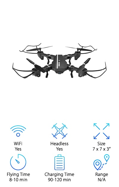 If you're like us, you do everything with your phone. You're probably reading this list from a phone, so it makes sense if you're searching for smartphone drones. The VISUO drone is a WiFi-connected drone that syncs up with your phone or tablet to get the perfect in-flight pictures and videos. When you're busy running a real estate enterprise, you want the best drone for home inspection, and that means a drone that connects right to your most-used business tool. View live footage from the world above. Take advantage of the 720P high definition camera to snap the perfect pictures. The air pressure altitude hold function will keep the drone hovering at just the right height for ideal shots. Equipped with one-click launch, one-click landing, one-key return, and headless mode, this professional drone is easy to fly and ideal for beginners. And when you're done working, finish off your day with a few 360-degree rolls for good measure.