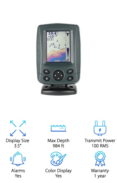 It doesn't matter if you're a professional or a weekend angler, this depth and fish finder is for you. The screen is designed so that you can even read it in sunlight so you'll never miss a thing. It has multi-language settings where you can choose from 15 different languages! Not only does it help you find the location of the fish, it will also help determine depth as well their size. This one is really good at showing you the bottom contour and helping you find schools of fish thanks to the dual beam frequency sonar depth finder. There are audible fish and depth alarms, too, so you never miss anything important. It's a great companion for any type of fishing, whether in the ocean, lake, or river.