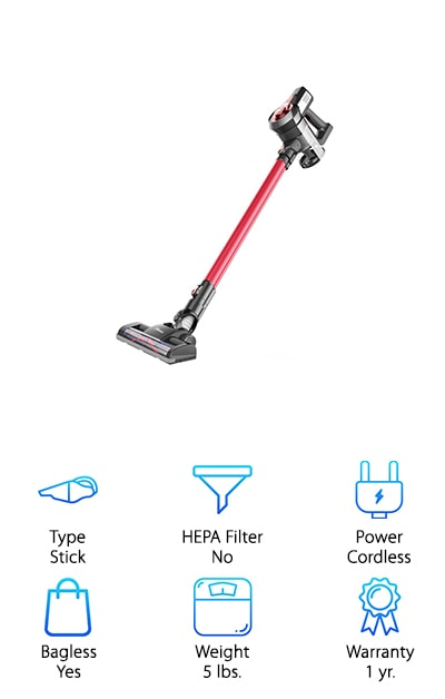 The Dibea C17 is a stick vacuum that provides you with 2 different suction modes for different floor types. It weighs only 5 pounds, so it's super light for easy movement and it's the best cordless vacuum for stairs and is entirely bagless. That means you have a whole lot more freedom when it comes to moving around to different parts of your house and when you need to empty it out. No more buying bags all the time. You can even use it as a handheld vacuum instead or use the crevice tool or brush to get into tighter spaces. It's the best handheld vacuum for stairs. The super quiet system also has an eco-mode that increases your run time to 40 minutes. On standard, you'll get fade-free power for up to 25 minutes, which is definitely going to help you get the job done. When it's time to charge you can actually plug it right into its own charging bracket and leave it there for easy storage as well.