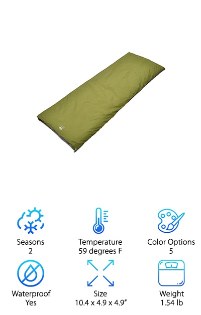Our last product in our ultralight sleeping bag reviews comes from BESTEAM and is a great warm weather sleeping bag. The nylon outer layer is waterproof and breathable while the TC cotton lining keeps you warm when there's a chill in the air at night. Plus, it's nice and soft so you have a comfortable place to sleep, too. This is a classic sleeping bag made in the envelope style. You can open it up and use it as a blanket or zip 2 of them together to make a double sleeping bag. It compresses nicely and is easy to carry. This makes it a great choice for backpacking or traveling. Oh, and one more thing: it comes with a 100% hassle free satisfaction guarantee.