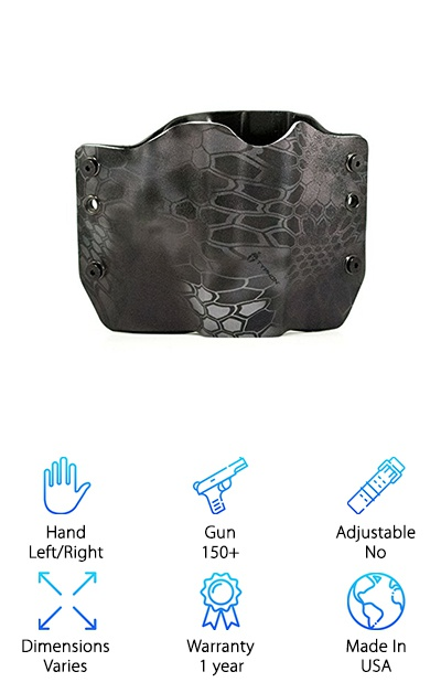 This dapper holster is what you need to properly secure and conceal your firearm. Designed in the beloved pancake style with weather-resistant Kydex, it comes with optional leather belt loops, speed clips and a paddle back for additional purchase. You can also select left-hand or right-hand draw. While the holster is made from Kydex, it looks anything but ordinary. Get this: it's embossed with a vibrant snakeskin design. It's a fancy look for the discerning carrier. Pick the mold to fit your gun, strap on the Outlaw Kryptek Typhon holster and you are ready to get going! It's a great pick for gun owners looking for a sturdy fit and an easy draw. The price is right, too! Made in the USA, this holster comes with a standard 1-year warranty. If you carry on the job, or for protection, whatever your needs may be: it's worth your time to take a look at this one and see if it's a fit.