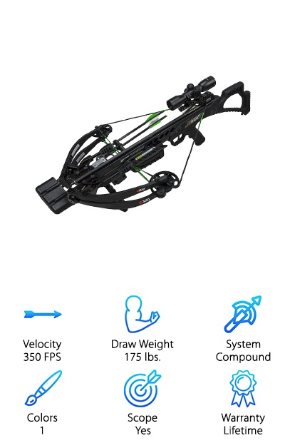 The Killer Instinct KI350 is a crossbow with a lot of amazing features. Its sleek, solid black body is attractive. It comes with a quality, blue/green Rheostat multi-reticle scope, three crossbow bolts, a quiver, and string suppressors. At only 6.5 pounds, it's amazing light. We love the silent grip that keeps every shot as quiet as possible. That makes it an amazing bow for hunting! However, it's not the impressive power or the lightweight design of the Killer Instinct KI350 that makes it so enticing. Oh no, it's the lifetime warranty! We love a great product that is backed for a lifetime; you know that this bow is well-made and ready for just about anything.