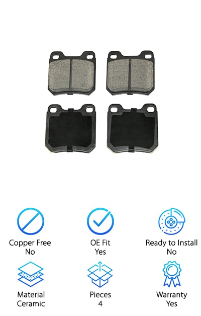DuraGo BP709 Ceramic Rear Brake Pads