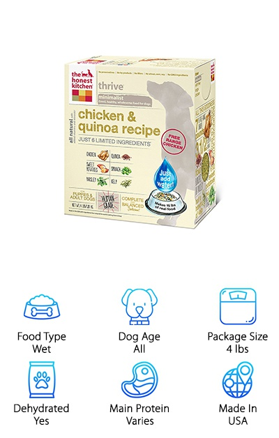 If you're looking for a minimalist dog food for your active dog, Honest Kitchen keeps it simple with just a handful of ingredients in each of their dehydrated dog food recipes. These recipes include beef and chickpea, chicken and quinoa, duck and sweet potato, fish and coconut, and turkey and parsnip. Dehydrated food is a great way to balance the benefits of a wet food diet (like better hydration and quicker satiation if your pup is on a diet) with a great shelf life and value. This balanced recipe contains the perfect amount of fat and protein that puppies or active adult dogs need to keep up with their lifestyles. Choose from a four-pound or ten-pound package-- the 4-pound package makes 16 pounds of dog food when rehydrated, and the 10-pound package makes 40! Just add water and your dog will have a delicious meal ready in a few minutes. You might be tempted to try some yourself while your dinner's still cooking!