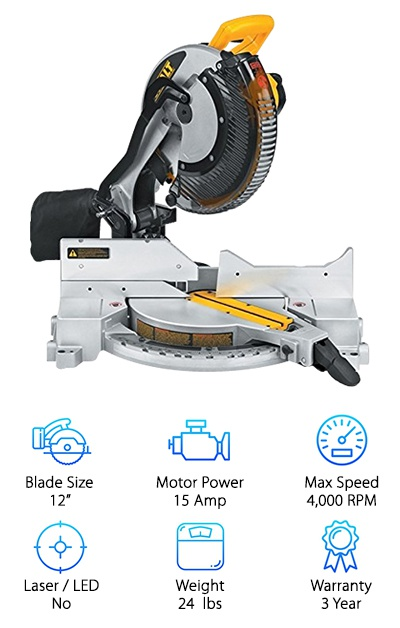 The Dewalt DW715 provides a lot of versatility and power in an incredibly light-weight compound miter saw. You will be happy to know that you can easily adjust the miter and bevel angles so you will be able to complete all kinds of projects with this one, reliable saw. The miter angle can be adjusted up to 50 degrees to the left or right, and for easy set-up, you can quickly choose one of the 11 positive stops on the stainless steel miter detent. On the other hand, you can adjust the bevel cuts up to 48 degrees to the left and up to 3 degrees to the left, or you can use one of the four bevel stops to cut your crown molding or other projects quickly. To match its versatility, the saw was designed to be powerful. The 15-Amp motor runs the 12-inch blade at 4,000 RPM so it can glide through the hardest woods. Though the saw has a lot of versatility and power, it only weighs 24 pounds, and it doesn't have a laser/LED guide. Lastly, you can work worry-free knowing that this miter saw is backed by a one-year service warranty and a three-year limited warranty.