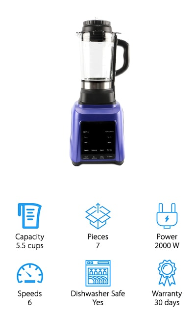 JakeyPlus is a relatively new company, but this powerhouse blender is sure to rocket them to the top of the game in no time. This power is crazy! A 2000 watt motor makes any blending or processing function look like child's play to this machine. It comes in a smooth blue color to blend into your kitchen décor and a single jug that works well for either function. It even has a sensor on the base so it stops rotating if the jar is removed! This motor has the power to blend foods fast enough they almost reach a boil! We can't get over the power in this unit. With the 38,000 RPM max speed, this blender puts out enough power to double as an ice crusher, juicer, and coffee grinder. This is definitely a professional-quality machine for an extremely affordable home cookware price.