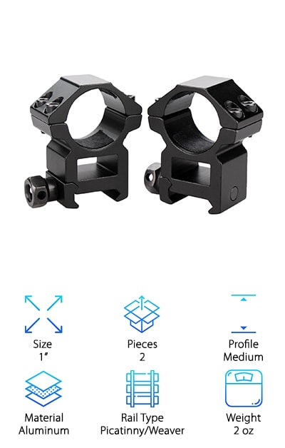 Still hunting for the best scope rings for long range shooting? Maybe these Modkin Scope Mounts will strike your fancy. These double scope ring mounts are designed for Picatinny and Weaver rails. They can fit on rails of 20 ml. These mounts are designed with a hollowed-out configuration between the ring and the bottom of the face. This allows you to release heavy duty material when clamping your scope. These rings also come with built-in pads inside each ring. This prevents you from marring the scope and it also prevents sliding.  These features allow you to hold your scope in place accurately. This ring is a great choice for most scopes of 1 in. these Rings provide a medium profile with a .71 inch gap from the base of the mount to the bottom of the rings.  These rings come with 1 rail clamp screw and to scope clamp screws per side. This ensures that it can mount any 1-inch scope firmly.