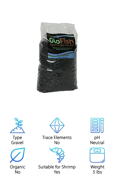 Last but certainly not least on our list is GloFish Aquarium Gravel. This product is a little different than the others on our list because it's made for a specific tank. That said, if you have a GloFish aquarium, this is the substrate you're looking for. You might be wondering what makes it so special. Here's the deal: it's specially selected to stand out under the blue light of your GloFish aquarium. This solid black option not only makes the perfect backdrop for your GloFish, it's a great substrate, too. You might be wondering, what exactly is a GloFish? They're fish that have been bred to detect pollutants in the environment. Scientists added a gene variant to make them glow and now that trait is passed along to all their offspring. Besides that, they're just like normal fish.