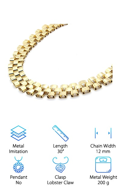 Get ready for a necklace that looks like an art piece around your neck – the L&L Nation Hip Hop Chain. This chain is both modern and art-deco, with individual links that curl into themselves on a wide gold chain, also known as a Rolex chain. Rolex chains are hugely popular, especially with African American athletes and musicians. The necklace measures 12 millimeters wide. It will look crisp and clean around your neck or the neck of the man you love. It makes an awesome gift for the holidays, a birthday or another special occasion. It closes in the back with a lobster claw clasp. With its bright gold tone, friends and family will be asking you how you were able to afford such nice ice. It measures 30 inches long, so it will hit mid-chest on most men. There are many other options out there, but they cost more money and they aren't constructed with this much attention to detail.