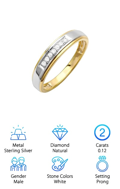 It can be hard to find cheap real diamond rings for men, but this is a great pick. The gold outer band pairs well with the sterling silver inner band to create a unique and beautiful look. The diamonds are set securely at the top of the band, adding just a little sparkle. The way the diamonds are set secures them from being caught on clothing or getting knocked around with heavy wear. This possibly gives your ring more longevity. The diamonds are a stunning 0.12 carats, making them an incredibly beautiful accent for any wedding. The white diamonds are set in a prong setting. The diamonds are all sparkling and 100% natural, making this a great choice for anyone who wants the real deal. This ring even comes in a beautiful gift box, which makes it easy to give or even store when you are not wearing it. This is a great choice for a men's band.