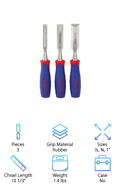 This 3 piece wood chisel set from WorkPro is the perfect size for a beginner. The blades are made of drop forged chrome-vanadium steel that's been heat treated. Why is being heat treated such a big deal? It helps the blade maintain a sharp edge for a longer period of time. The handles are made of bright blue rubber with red accents. The colors not only give the chisels a fun, modern look but they also make it really easy to find them in your toolbox. You won't have a problem working with these for long periods of time because of the ergonomic design. There's more. The handle has a steel butt that's designed to handle heavy pounding. You don't have to get a special mallet, either, because these are so tough.