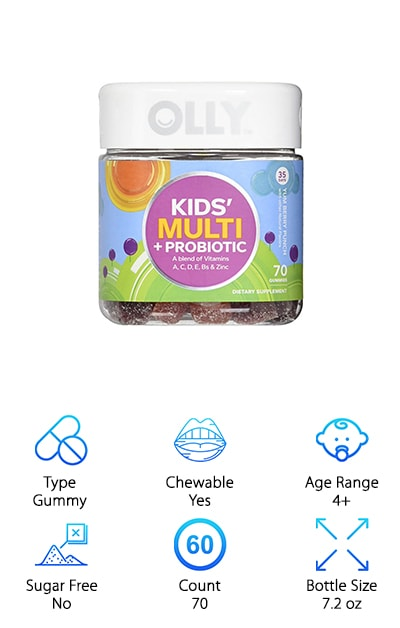 Still wondering which probiotic is best? The OLLY Kids Probiotic may be the one or you then. If you want your probiotic to do it all, this is the one for you. In addition to probiotics, it contains a blend of vitamins A, C, D, E, Bs & Zinc. This makes it a great all in one vitamin and probiotic, so you won't have to worry about keeping track of multiple gummies or products. The fruit punch and berry blast flavors make this a vitamin your kids will love to take. It comes with 70 gummies in every package, so this awesome vitamin will last you a long time. It's made with natural colors and flavors, so you won't worry about anything extra getting in your child's supplement. The gummies are lightly sweetened by their natural flavors, so kids will love their sweet taste. These gummies harness the power of plant-sourced phytonutrients and antioxidants to give them a great punch.