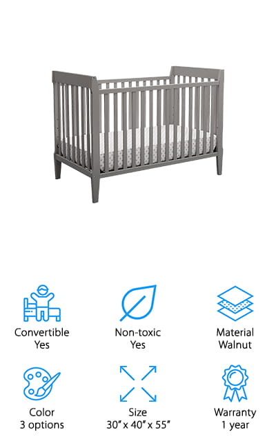"Serta has been a trusted name in sleep and sleep accessories. Their Mid Century Crib is no different, and it carries on the company name well. This is easily the best baby crib for sale just based on the quality of the parts and construction. This crib is small and simple. The three color options are what you would expect, natural colors. There are 4 mattress positions on the crib, so you can lower it as your child grows, and when they outgrow that mode, it can be converted for a toddler bed and a full-sized bed when they're ready for that. It's small and simple while still being a time-tested product with a long life. Serta calls this model ""retro-modern', which is just about correct – this crib could fit right into a living room in the 80's and it wouldn't look out of place. You can trust Serta to bring you and your kids the best sleep!"
