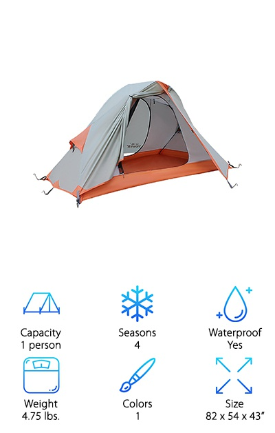If you need something for cold weather, the Hewolf Outdoor Tent is ready for just about anything! This is the first four-season tent on this list. If you like cold-weather camping, a four-season tent is a must. This one-person tent is waterproof, windproof, and lightweight. It comes to just under 5 pounds in spite of all the heavy duty parts and waterproof coatings. The shell is made from 210D waterproof Oxford cloth with 5000mm coating to really keep the water out. The tent opens up to 82 by 54 by 43 inches, and it folds down to a pack size of 18.5 by 6 inches. It features two heavy duty poles and ten aluminum stakes to keep your tent in place even in windy conditions. Although it is a little heavy for a one-man tent, you'll need the extra protection if your hike takes you into some nasty weather.