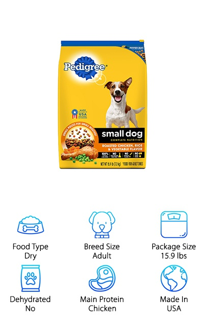This small breed dog food from Pedigree is meant for dogs just like your dachshund. First of all, they'll love the chicken, rice, and vegetable flavor. But that's not all. They'll also get the right amount of antioxidants, vitamins, and minerals to help promote health and wellbeing. Glucosamine and chondroitin are essential to keeping your dachshund's joints healthy. Why is that important? Strong joints will help your pup stay active and healthy, longer. Omega-6 fatty acids help keep your pup's skin soft and help his coat stay nice and shiny. Here's something else that's pretty awesome: there's no added sugar, no high fructose corn syrup, and no artificial flavors. Not only that, this kibble is also designed to gently clean your dog's teeth with each and every bite.