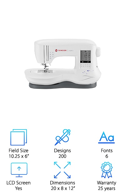 The Singer SE300 Legacy is everything you hope for in a sewing and embroidering machine. It comes with 200 designs and, with the USB Stick Embroidery Design Transfer, you can get more by downloading them through a computer. It can do six alphanumeric fonts, so you have choices when doing lettering. It comes with two embroidery hoops: one is the big hoop for large projects, and the other is a four by four-inch hoop for those embroideries that are less grandiose. Aside from the hoops, it also comes with ten different presser feet that just snaps on. As a sewing machine, it has 250 built-in stitches that you can choose from. The SE300 Legacy's functions can be accessed from its LCD touch screen. All settings for sewing and embroidering can be adjusted from there. As an added bonus: this product also comes with free online lessons called the Singer Owner's Class. There you can learn how to fully use your new machine and get you embroidering or sewing faster.