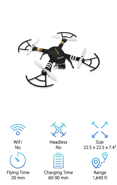 Real estate is a competitive field, so you need a professional, competitive drone. When searching for commercial drones for sale for the specific purpose of taking pictures to show prospective buyers, you should look for a powerhouse drone. The Veho is a durable, fast-flying model built with a 3-axis gimbal to reduce vibrations, shaking, and movement. It is compatible with Muvi K-Series and GoPro HERO ¾ cameras, allowing you to capture clear, quality images and video with your camera of choice. Three flight speeds, including eco, drive, and sports mode give you options and the battery allows up to twenty minutes of flight time. The GPS system gives you total flight control and allows you to maintain altitude and orientation, so you achieve just the right angles for all of your pics. A return home function keeps your drone close and brings it back safely when it's time to wrap up your photoshoot.