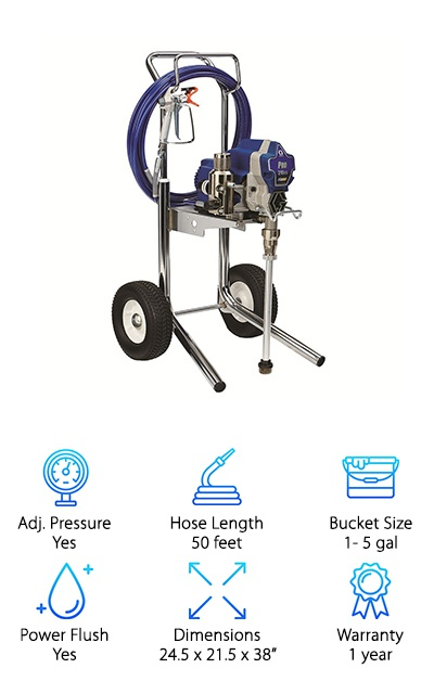 When you are looking for the best professional paint sprayer, you will want to consider purchasing the Graco Pro 210ES strongly. With this commercial-grade machine, you will be able to handle project after project with ease. Aside from block filler, asphalt, and texture-filled materials, this sprayer can handle a broad range of coatings from stains to heavy latex. It was designed to include an Endurance Pump so that it will last a long time in a professional setting, and the performance will always be reliable. When the time comes for you to replace the pump, you will be able to do so in just four simple steps. This easy maintenance feature will allow you to focus more on getting the job done than maintaining your equipment. In fact, this feature should prevent downtime while you are working on a project for a client, and it will allow you to reduce maintenance costs since you won't need to take it to a specialist.