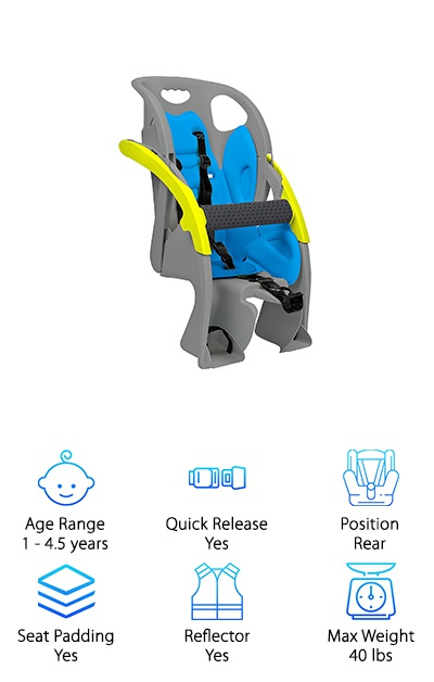 Last but certainly not least is the amazing COPILOT Adjustable Child Carrier! It's a wonderful seat for your amazing little copilot! It features super bright colors and reflectors to make the seat as visible as possible. There is also a padded bar across your baby's seat for safety. The three-point harness helps to keep your child in place while the foot restraints keep their little feet from getting caught in the wheels. This seat comes in a variety of styles, but this one is by far our favorite. We love the high sides and adjustable padded bar. We also love the removable, easy-to-wash, gel pad inserts that keep your child comfortable throughout all of your adventures together! We really loved the COPILOT Adjustable Child Carrier and all of the other COPILOT seats as well!