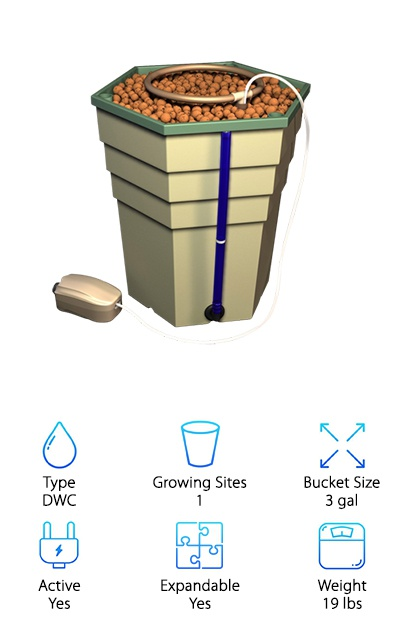 General Hydroponics has some great hydroponic kits for beginners and more advanced users, and the PowerGrower GH4830 is one of them. It has a space-efficient hexagonal design for integrating with larger systems. It measures 16 by 13 by 15.5 inches, and the three-gallon bucket can grow a variety of different sizes of plants! It has a 5.7-gallon reservoir and can be used with other General Hydroponics controller systems. This setup is easy to add to existing systems or can be used as a stand-alone system. Included with the kit are a pumping column, column support tube, drip ring, ½-inch grommet, drain level tube, air pump, nine liters of Hydroton, and three-part Flora nutrients. An all-in-one design with growing materials included is a good feature to look for in hydroponics systems for beginners. The single growing site on the PowerGrower makes it less useful for larger setups, but if you want to grow one or two plants rather than eight or more, this small DWC system might be ideal for you. One upside of this small system is it requires a basic air pump that isn't as loud as some larger systems can be.