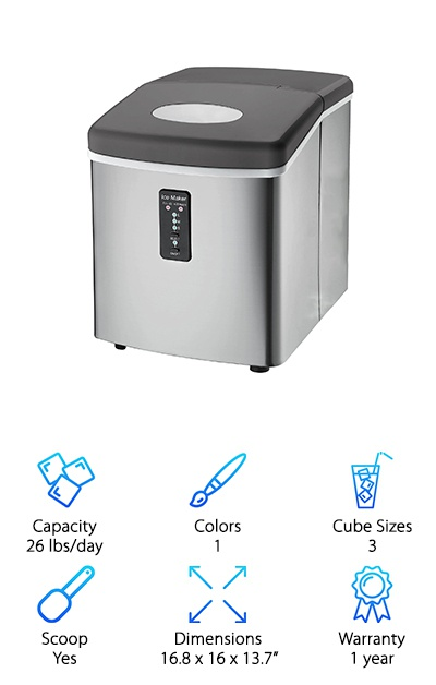 This stainless steel ice maker offers similar ice production speeds as the Della ice makers. It can produce 26 pounds per day! The ice basket holds 2.2 lbs of ice at a time, so you don't have to constantly empty out the machine. Push-button controls let you turn the machine on and off and select from three ice cube sizes. Indicator lights tell you when the water levels are low or when the ice basket is full. You also get a scoop! This ice maker does have a larger size than other ice makers with similar capacities. Use it for entertaining in the backyard or set it up in the kitchen, but small spaces like campers and apartments may find this ice maker a little too big. Any melted ice gets recycled back into the machine, so you don't have to worry if you accidentally forget about it! It's much easier than driving to the store to buy bags of ice.