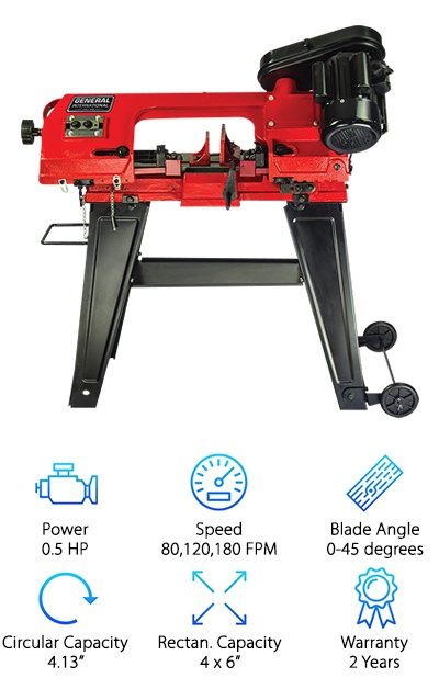 To wrap up our ten favorite products, we wanted to include a horizontal band saw review of the International Power Products BS5205. It is a solid, dependable tool that will allow you to cut through metal and wood with ease. No matter what material you are working with, you can choose one of the three-speed options to get the best cut. You can also switch this tool to a vertical cutting position with its add-on cutting table. Our favorite features on this horizontal band saw are the tool shelf, wheels, and handles. While these may seem arbitrary to the actual functionality of the horizontal band saw, they are nice little extras that set this tool apart from others on the market. The tool shelf will allow you to keep commonly used items out of the way of the saw but also within reach. The shelf is a great place to keep your pencils and tape measures, so you can easily make your markings and get back to cutting. The handles and wheels allow this solid cast iron frame to be transported to different job sites. You will be able to get any job done anywhere without sacrificing the benefits of a high-quality tool.
